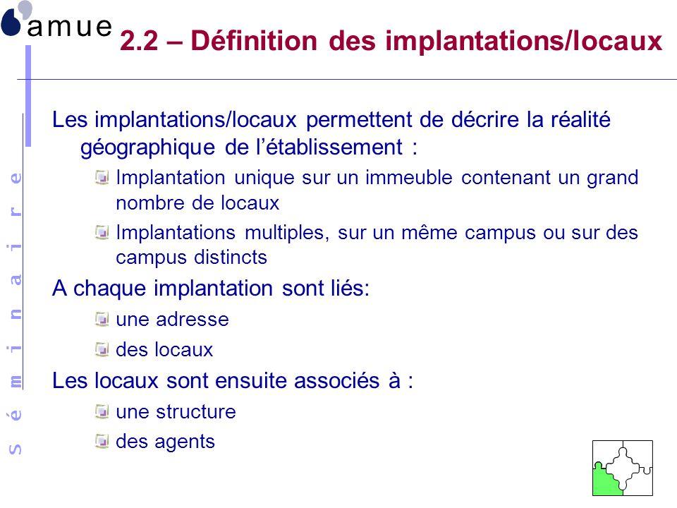 2.2 – Définition des implantations/locaux