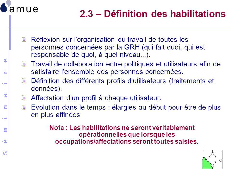 2.3 – Définition des habilitations