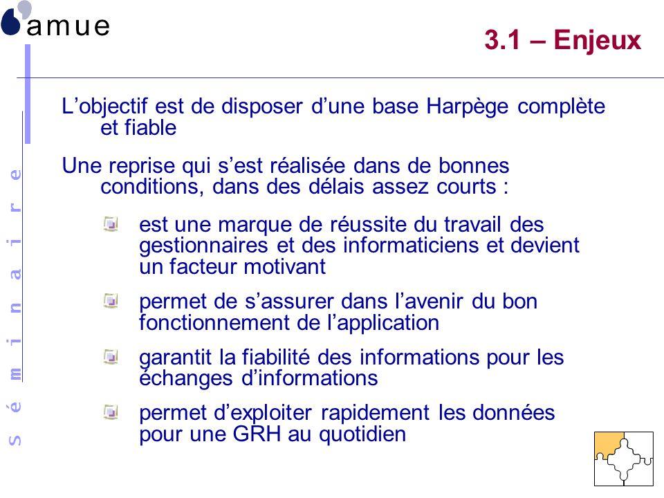3.1 – Enjeux L'objectif est de disposer d'une base Harpège complète et fiable.