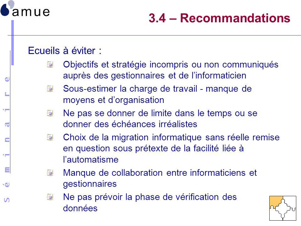 3.4 – Recommandations Ecueils à éviter :