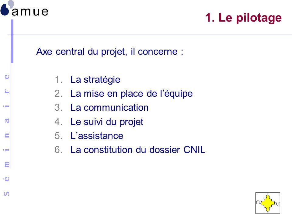 1. Le pilotage Axe central du projet, il concerne : La stratégie