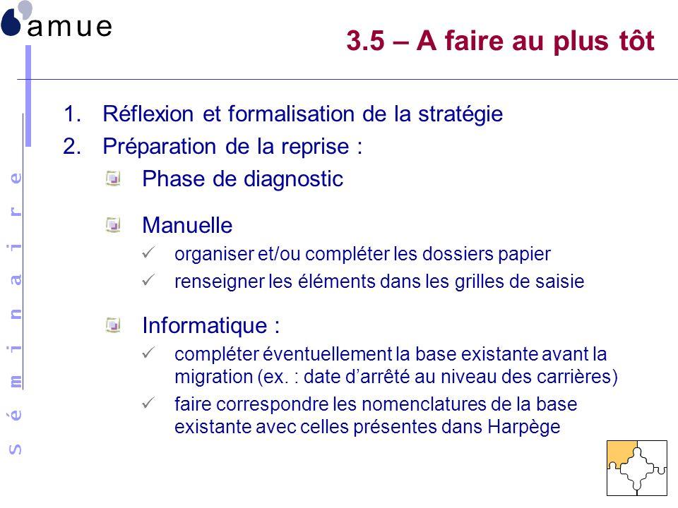 3.5 – A faire au plus tôt Réflexion et formalisation de la stratégie