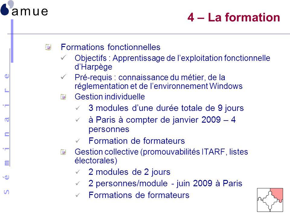 4 – La formation Formations fonctionnelles