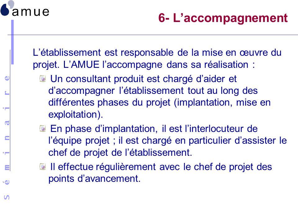 6- L'accompagnement L'établissement est responsable de la mise en œuvre du projet. L'AMUE l'accompagne dans sa réalisation :