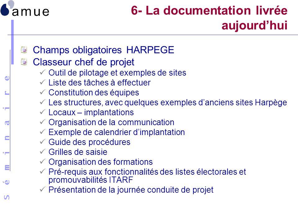6- La documentation livrée aujourd'hui