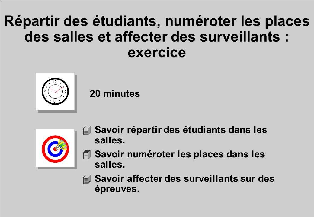 Répartir des étudiants, numéroter les places des salles et affecter des surveillants : exercice