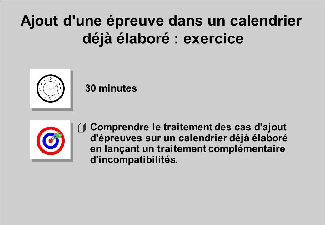 Ajout d une épreuve dans un calendrier déjà élaboré : exercice