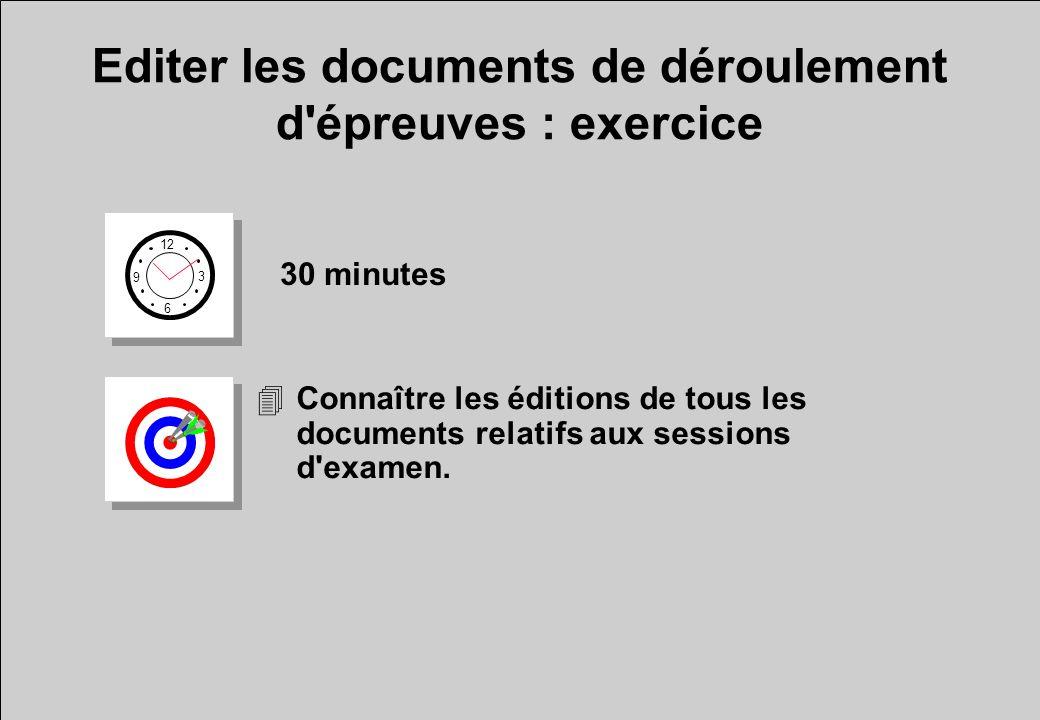 Editer les documents de déroulement d épreuves : exercice