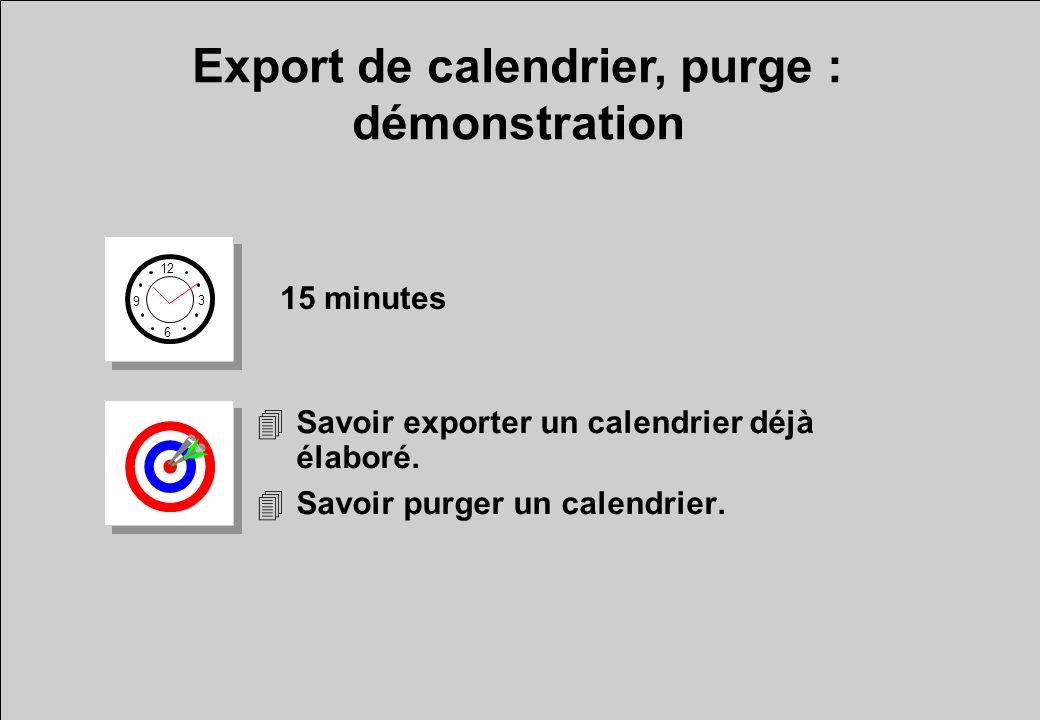 Export de calendrier, purge : démonstration
