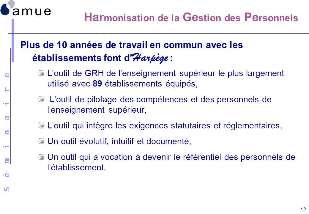Harmonisation de la Gestion des Personnels