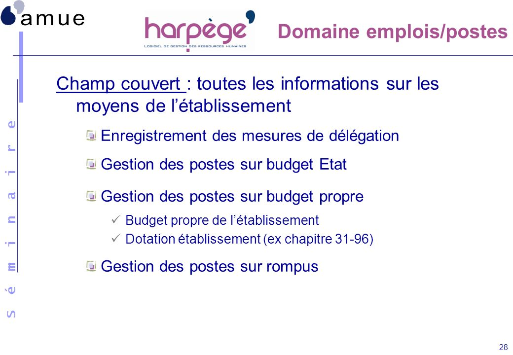 Domaine emplois/postes