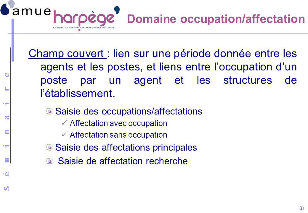 Domaine occupation/affectation