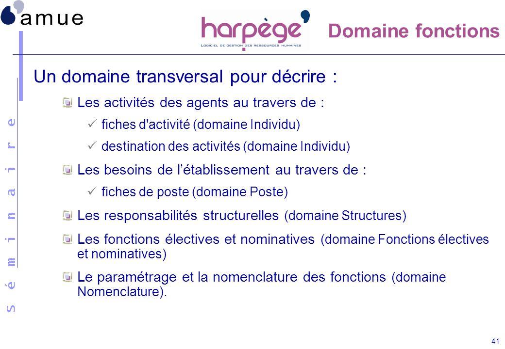 Domaine fonctions Un domaine transversal pour décrire :