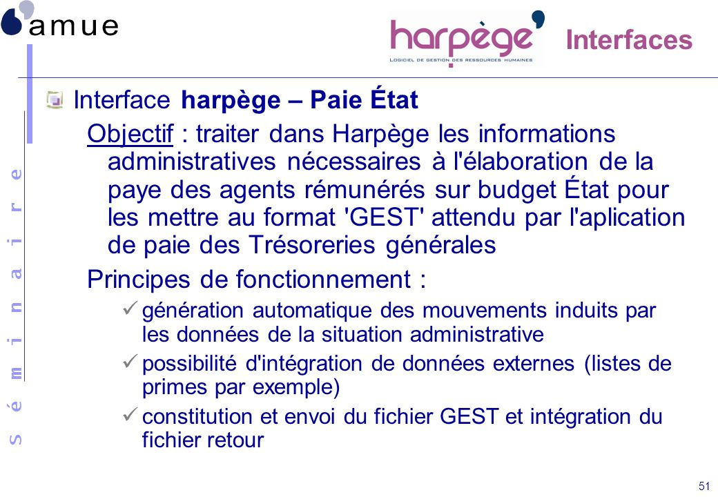 Interfaces Interface harpège – Paie État