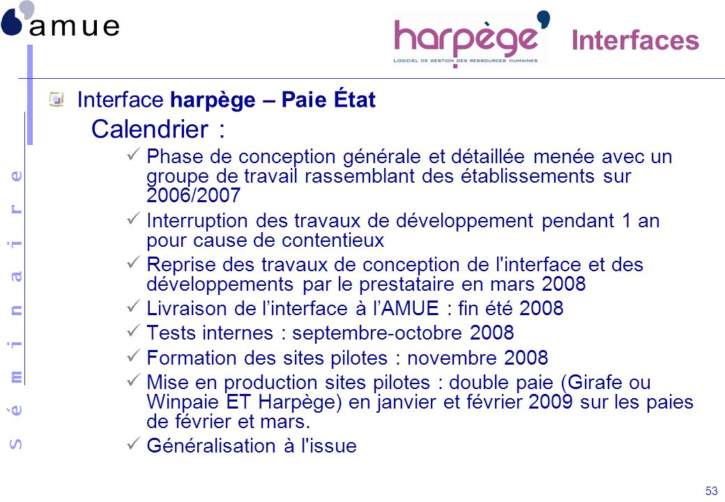 Interfaces Calendrier : Interface harpège – Paie État