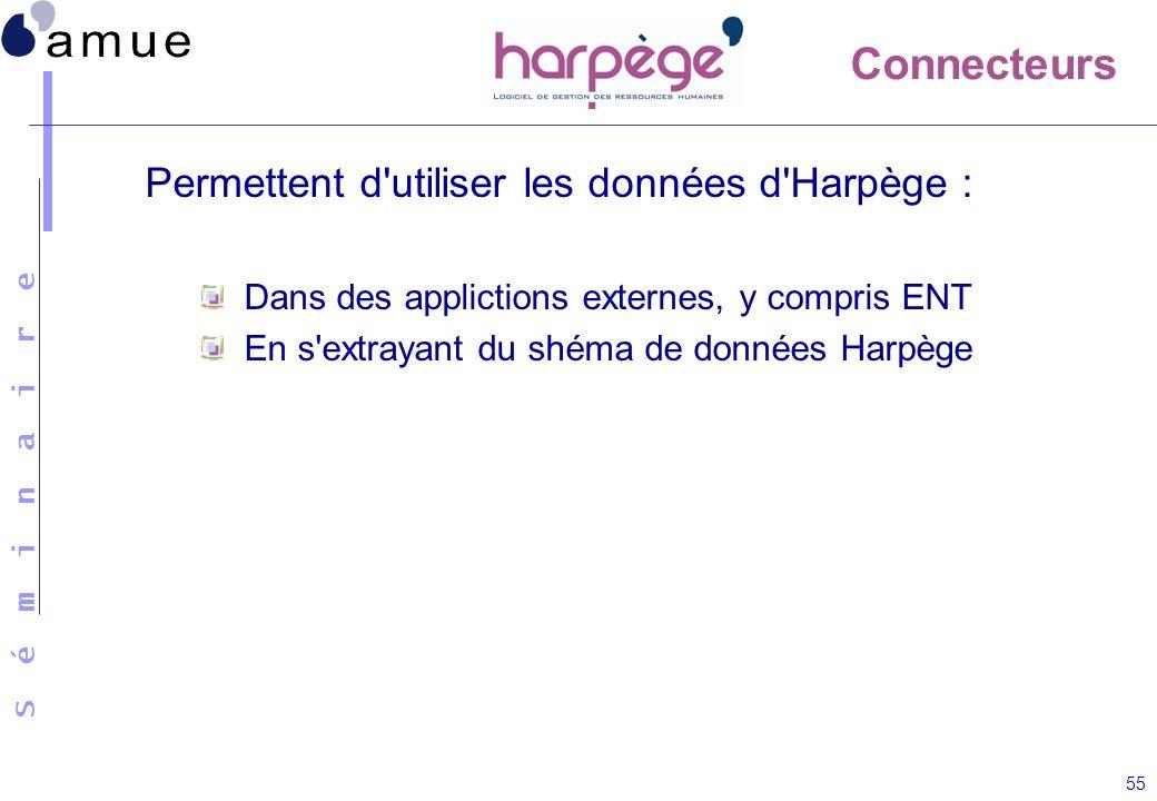 Connecteurs Permettent d utiliser les données d Harpège :
