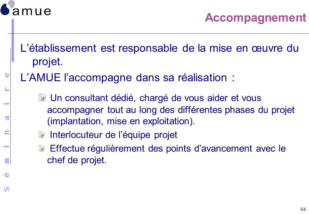 Accompagnement L'établissement est responsable de la mise en œuvre du projet. L'AMUE l'accompagne dans sa réalisation :