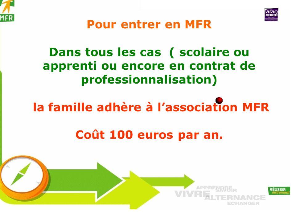 la famille adhère à l'association MFR