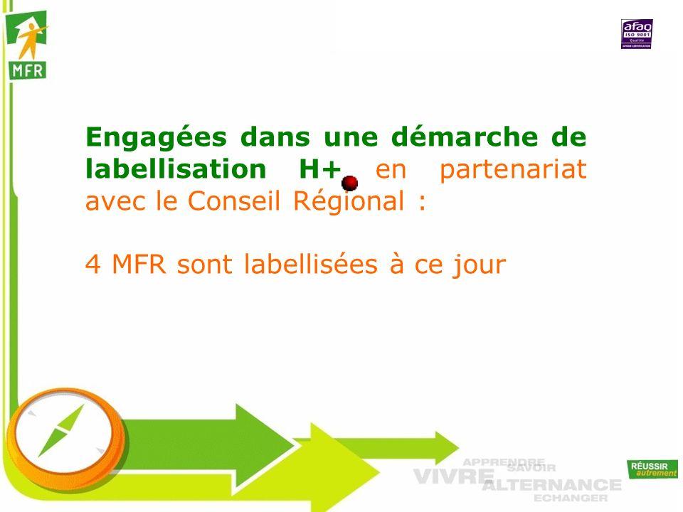 Engagées dans une démarche de labellisation H+ en partenariat avec le Conseil Régional :