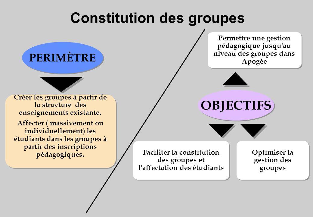 Constitution des groupes