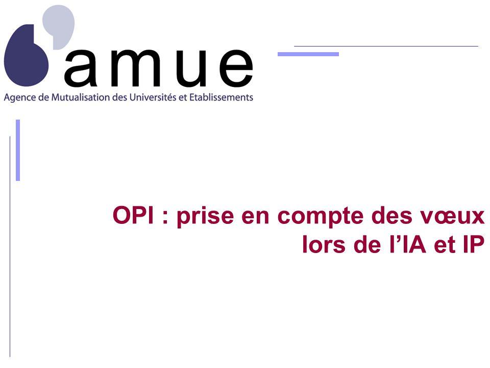 OPI : prise en compte des vœux lors de l'IA et IP