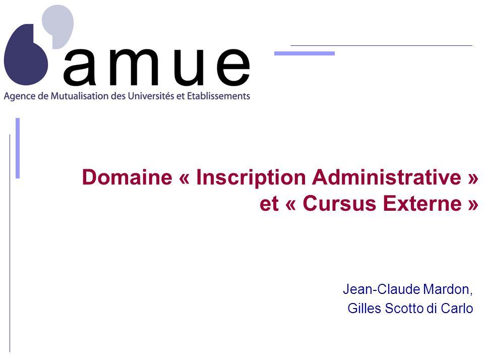 Domaine « Inscription Administrative » et « Cursus Externe »