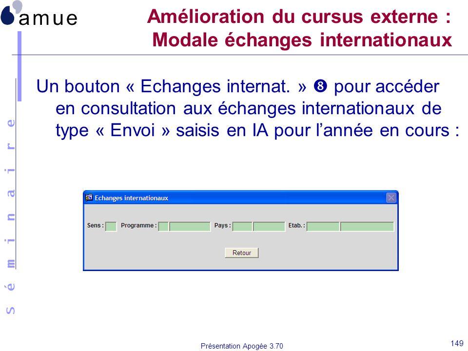 Amélioration du cursus externe : Modale échanges internationaux