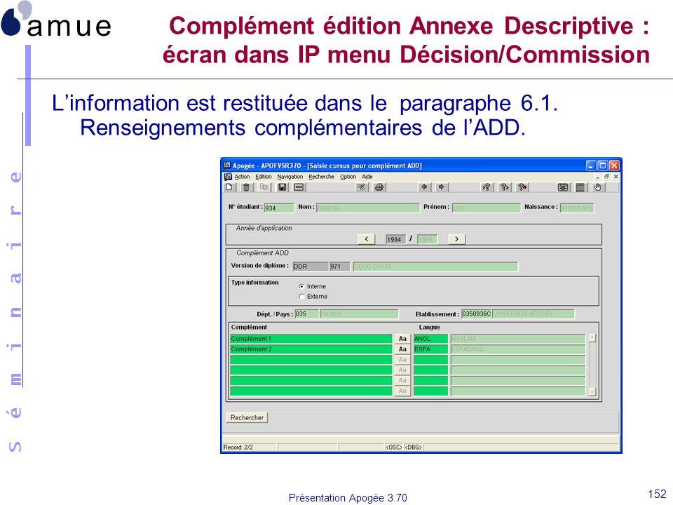 Complément édition Annexe Descriptive : écran dans IP menu Décision/Commission