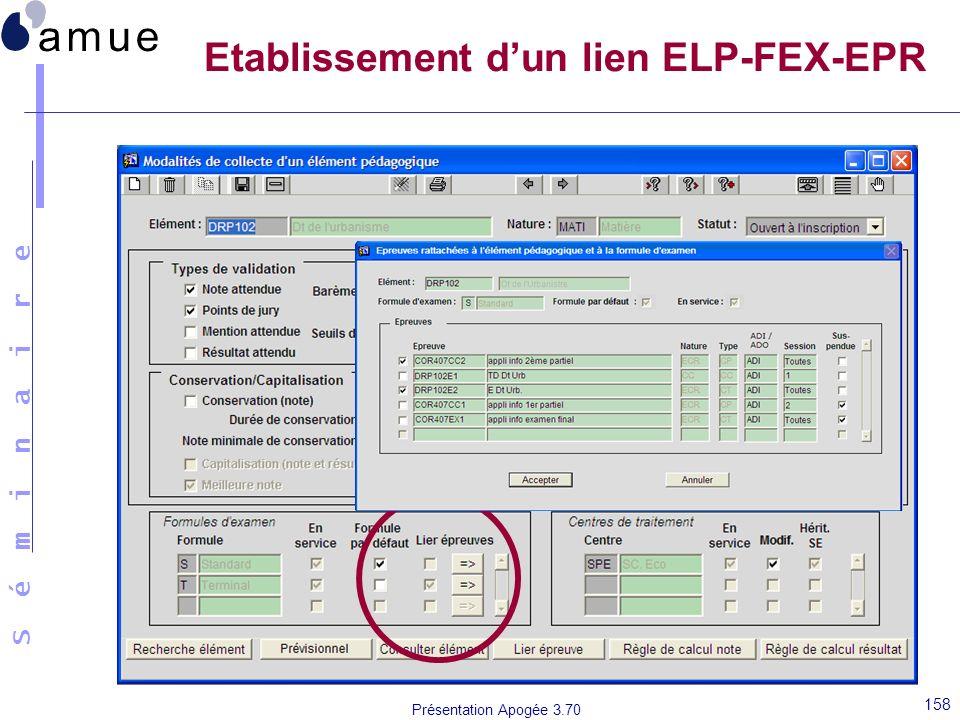 Etablissement d'un lien ELP-FEX-EPR