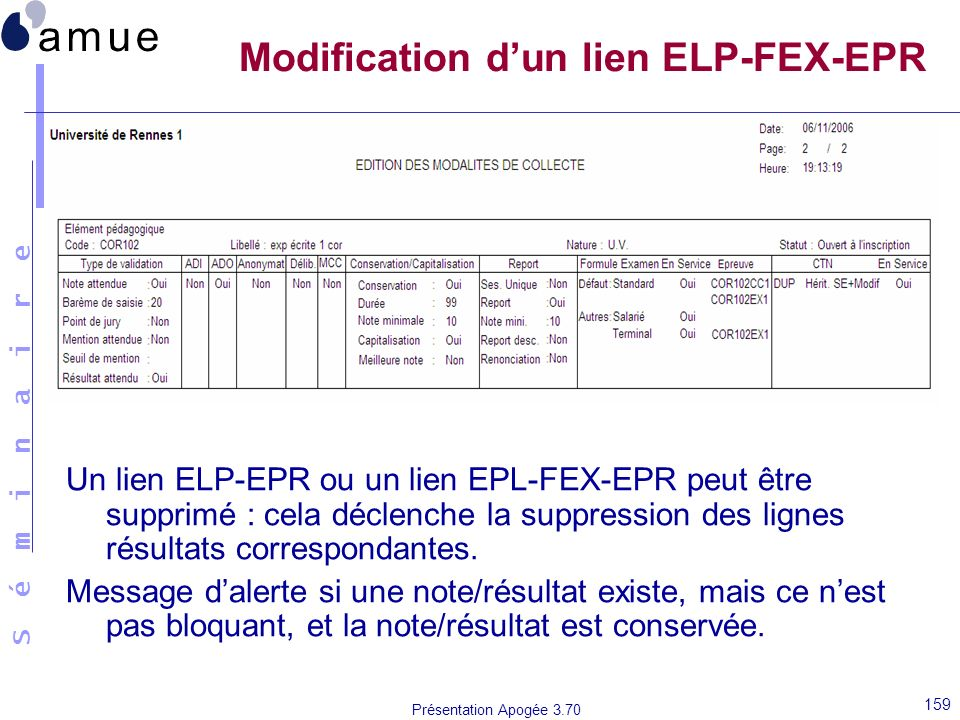Modification d'un lien ELP-FEX-EPR