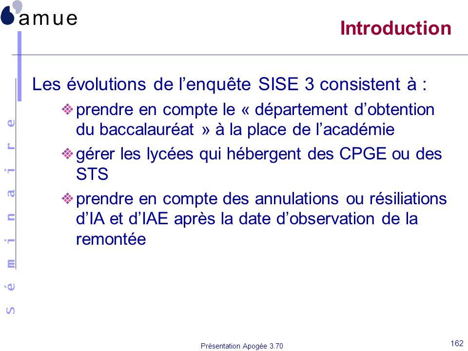 Introduction Les évolutions de l'enquête SISE 3 consistent à :