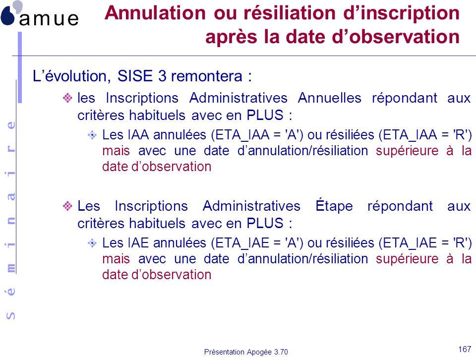 Annulation ou résiliation d'inscription après la date d'observation