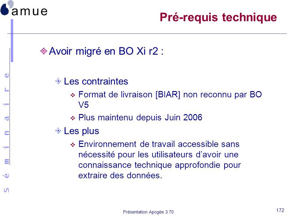 Pré-requis technique Avoir migré en BO Xi r2 : Les contraintes