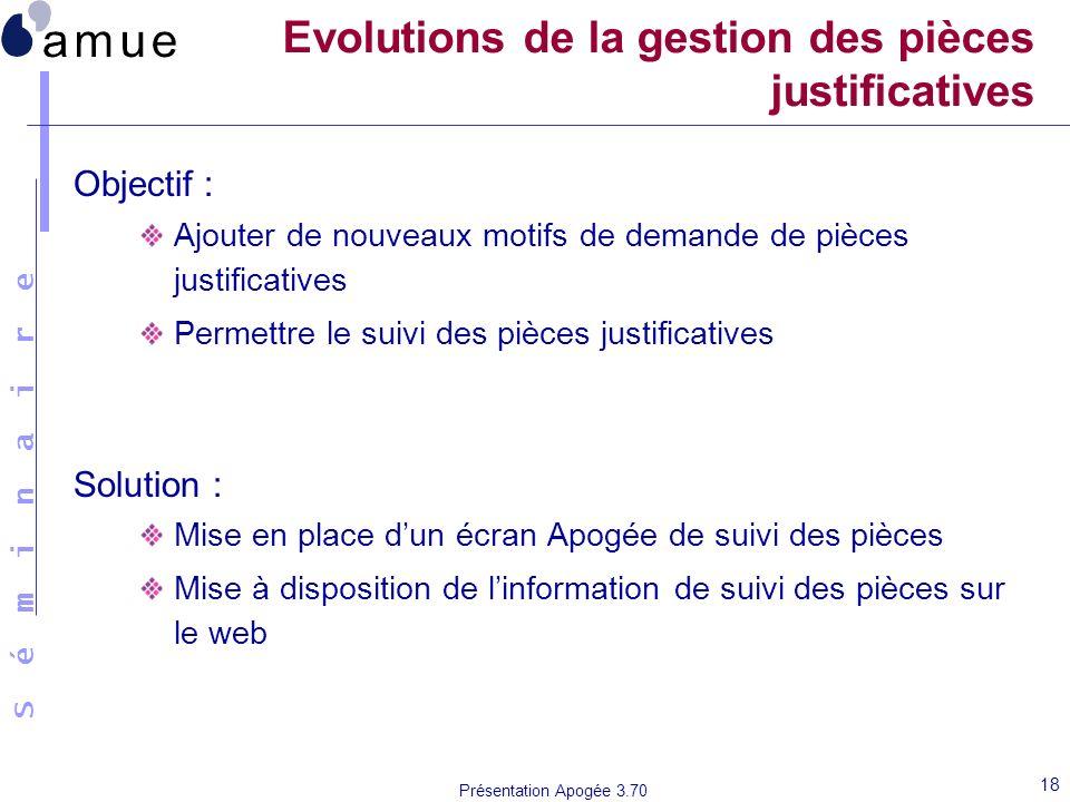Evolutions de la gestion des pièces justificatives
