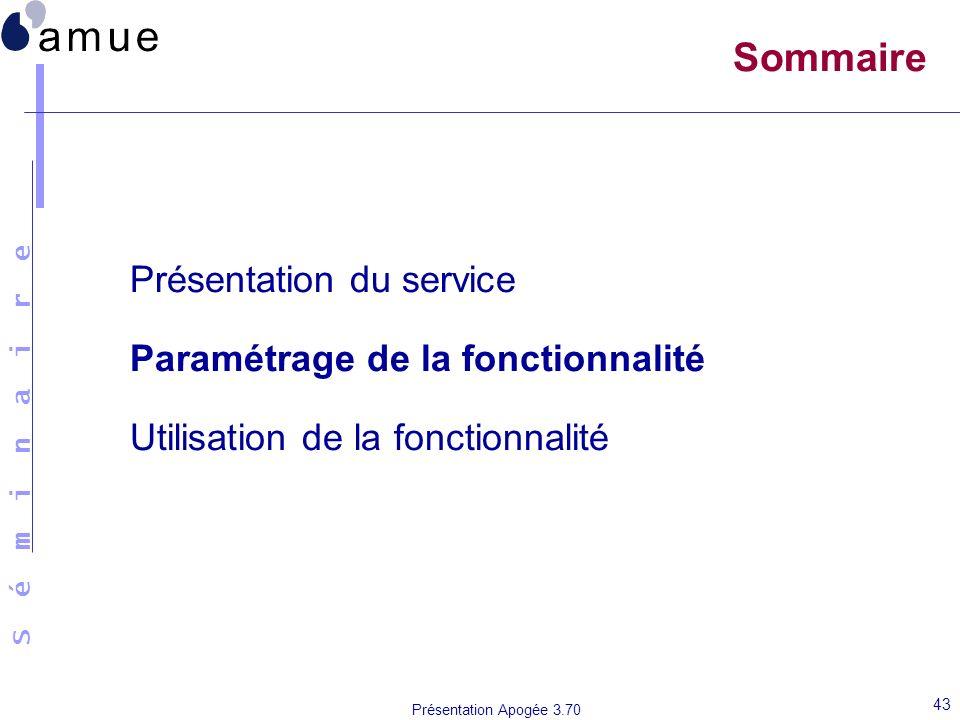 Sommaire Présentation du service Paramétrage de la fonctionnalité