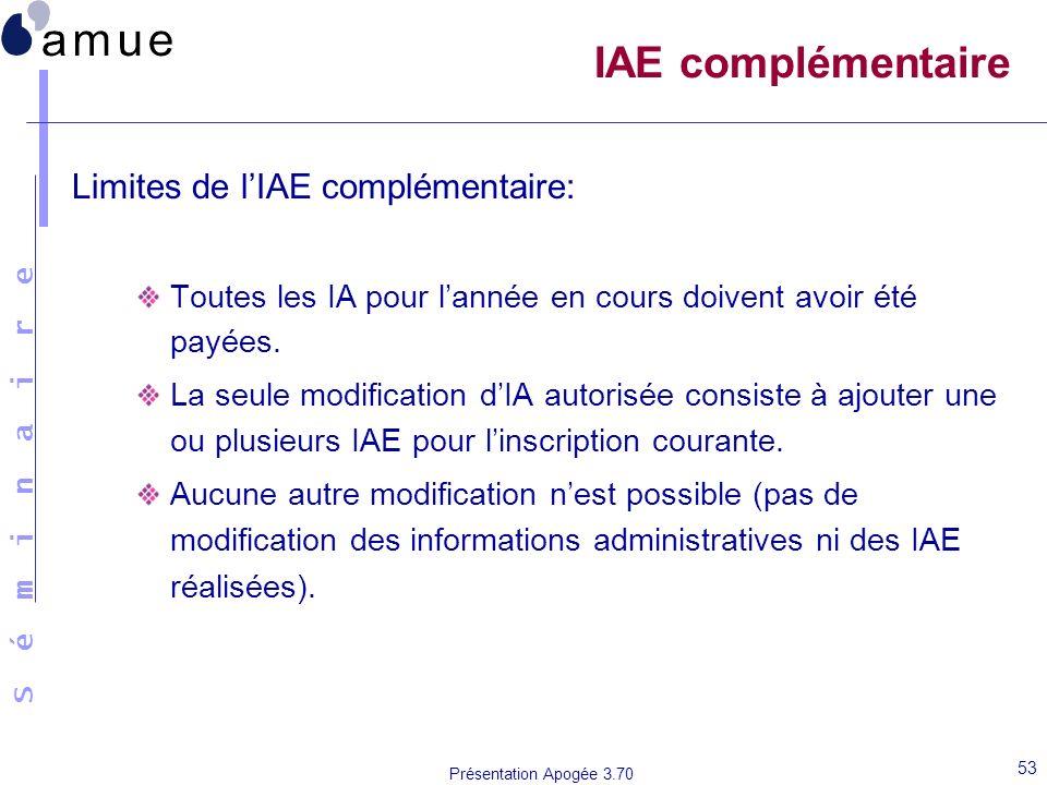 IAE complémentaire Limites de l'IAE complémentaire: