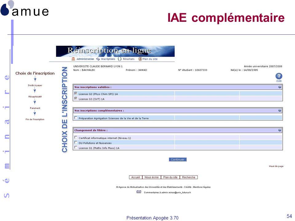IAE complémentaire