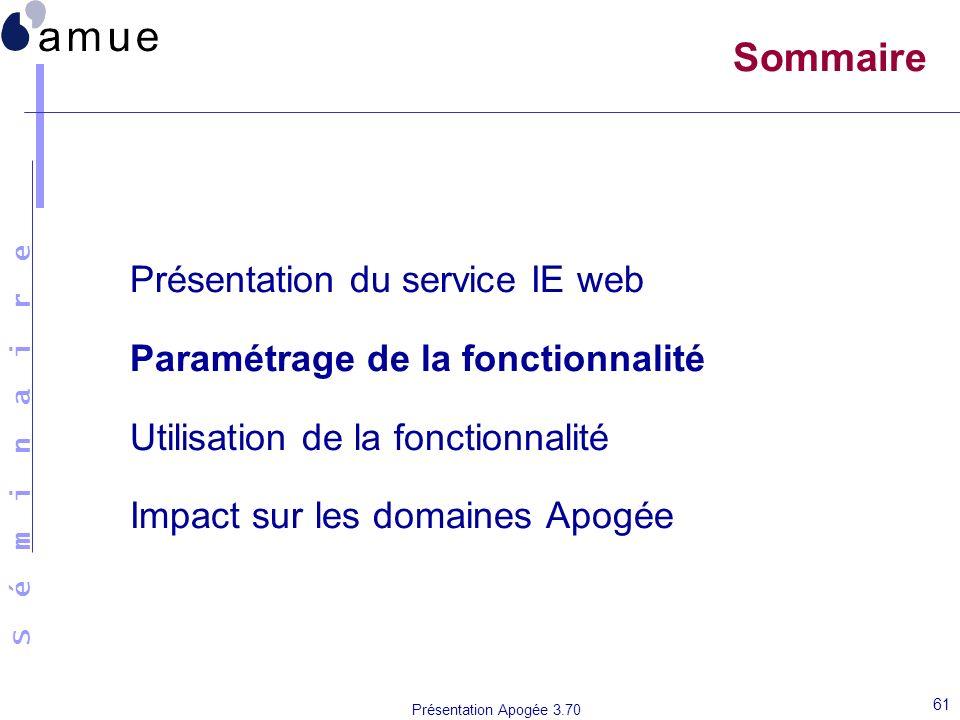 Sommaire Présentation du service IE web
