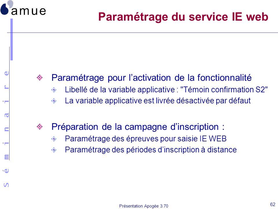 Paramétrage du service IE web