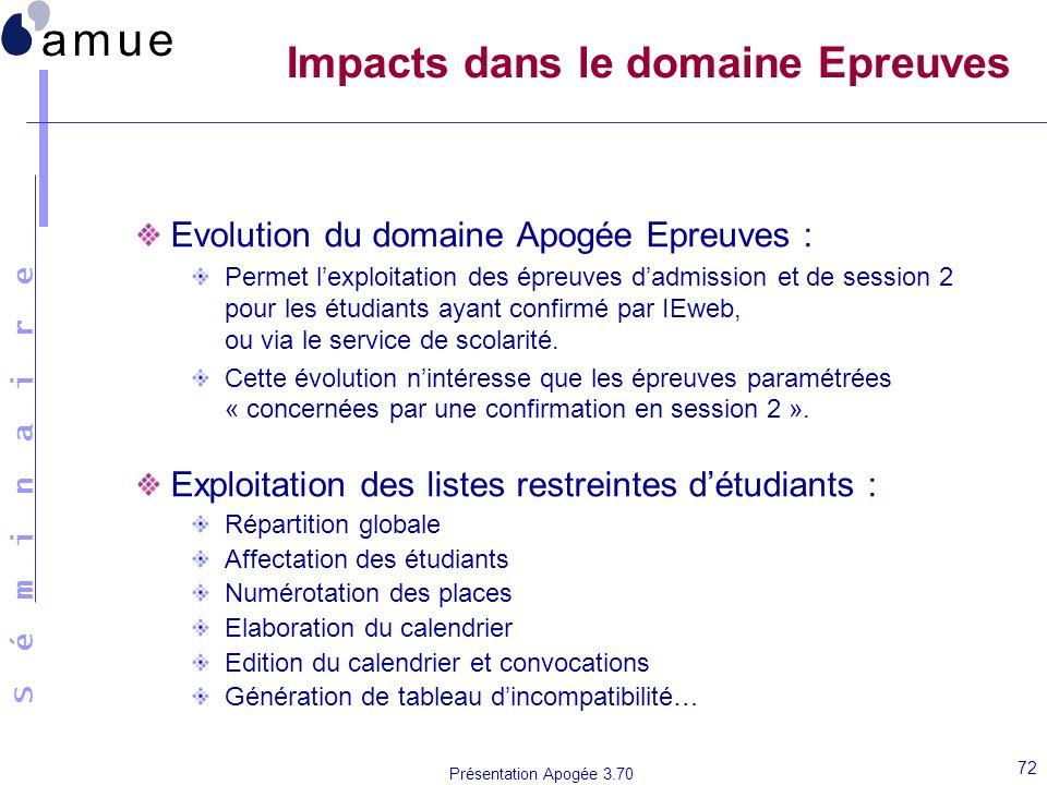 Impacts dans le domaine Epreuves