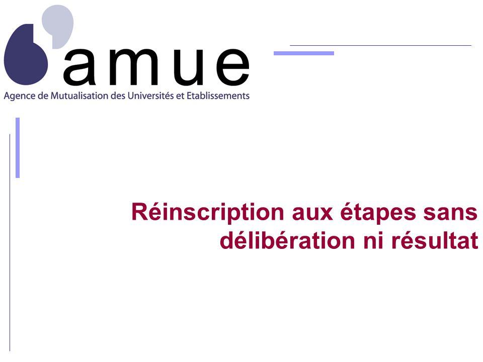 Réinscription aux étapes sans délibération ni résultat