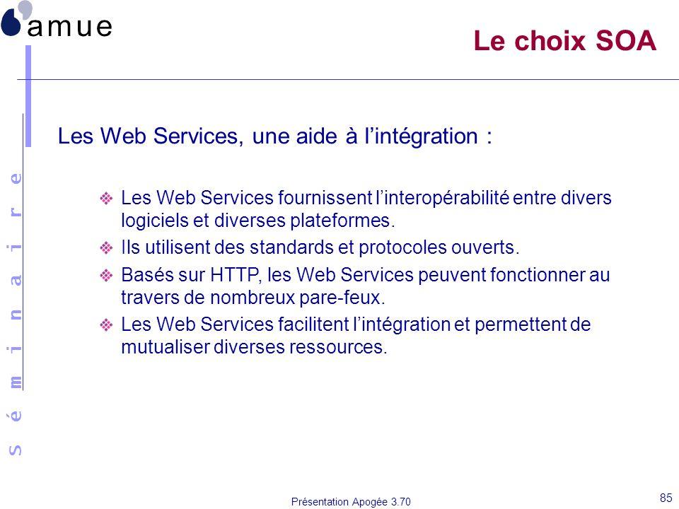 Le choix SOA Les Web Services, une aide à l'intégration :