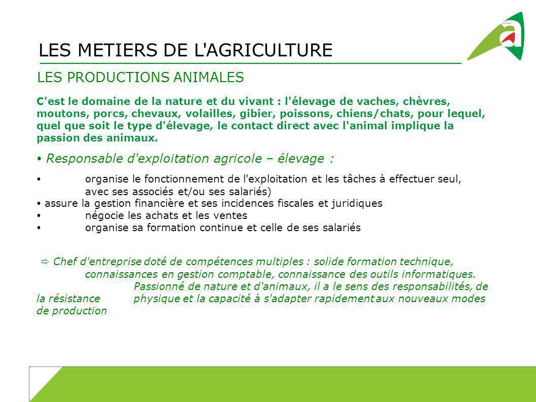 LES METIERS DE L AGRICULTURE