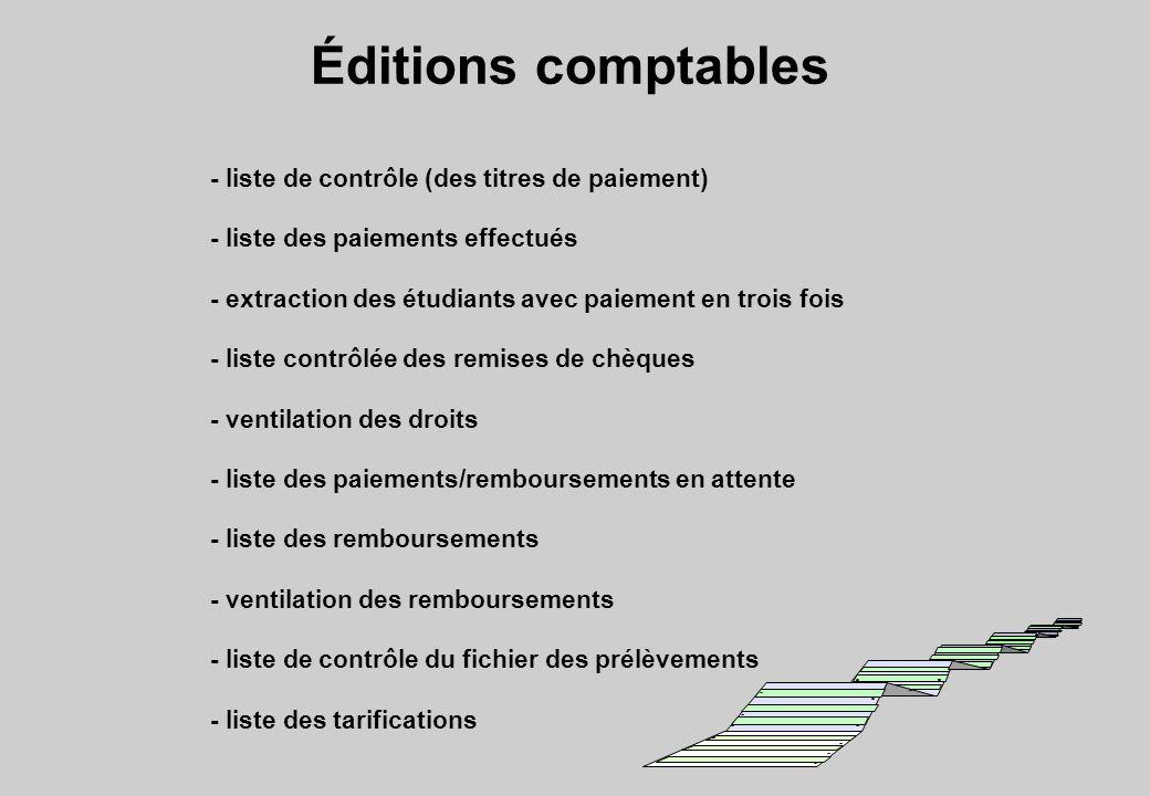 Éditions comptables - liste de contrôle (des titres de paiement)