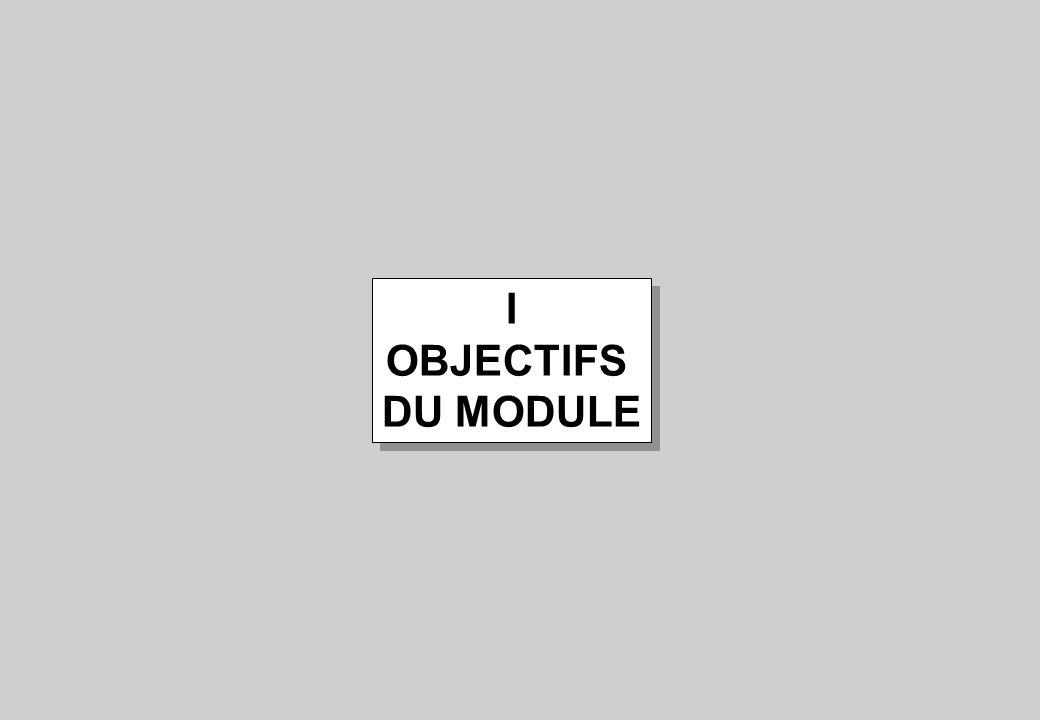 I OBJECTIFS DU MODULE
