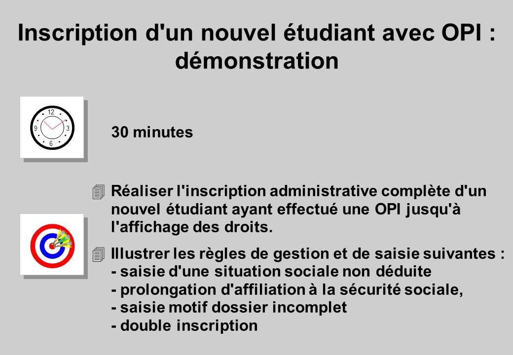 Inscription d un nouvel étudiant avec OPI : démonstration