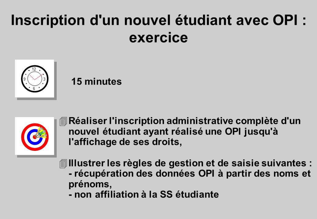 Inscription d un nouvel étudiant avec OPI : exercice