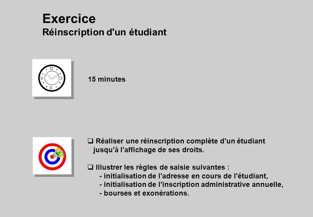 Exercice Réinscription d un étudiant 15 minutes