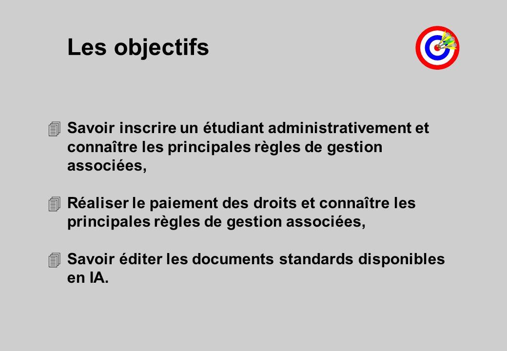 Les objectifs Savoir inscrire un étudiant administrativement et connaître les principales règles de gestion associées,