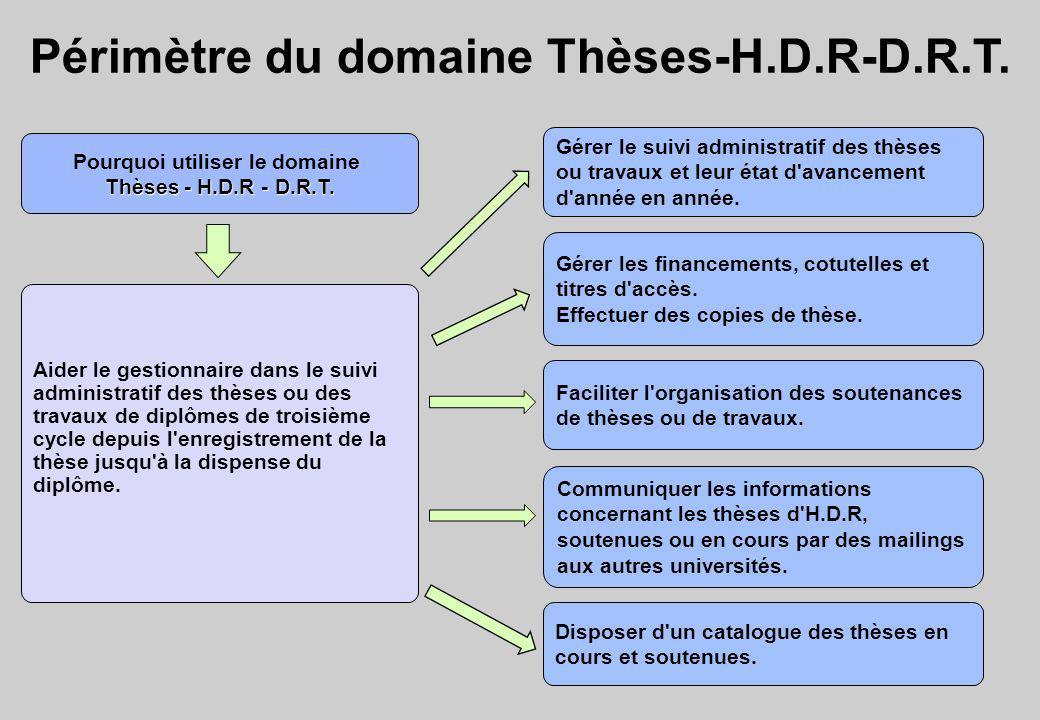 Périmètre du domaine Thèses-H.D.R-D.R.T. Pourquoi utiliser le domaine